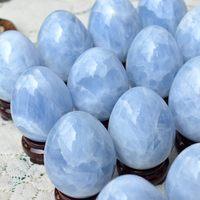 300g NATURAL SKY BLUE CALCITE QUARTZ CRYSTAL EGG SPHERE BALL HEALING FREE SHIPPING