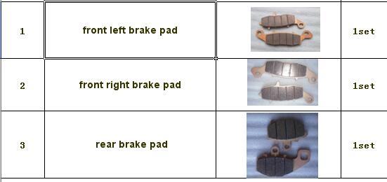 ФОТО front left and front right and rear brake pad of CF MOTO CF650NK  MODL YEAR 2013