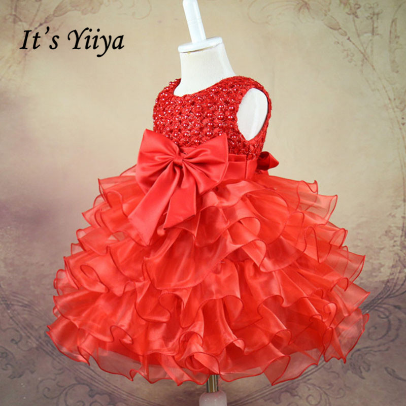 It's YiiYa 5 Colors Sleeveless O-Neck Knee-Length Lace Bow Beading Kids Princess   Flower     Girls     Dress   Kids Ball Gown TS004