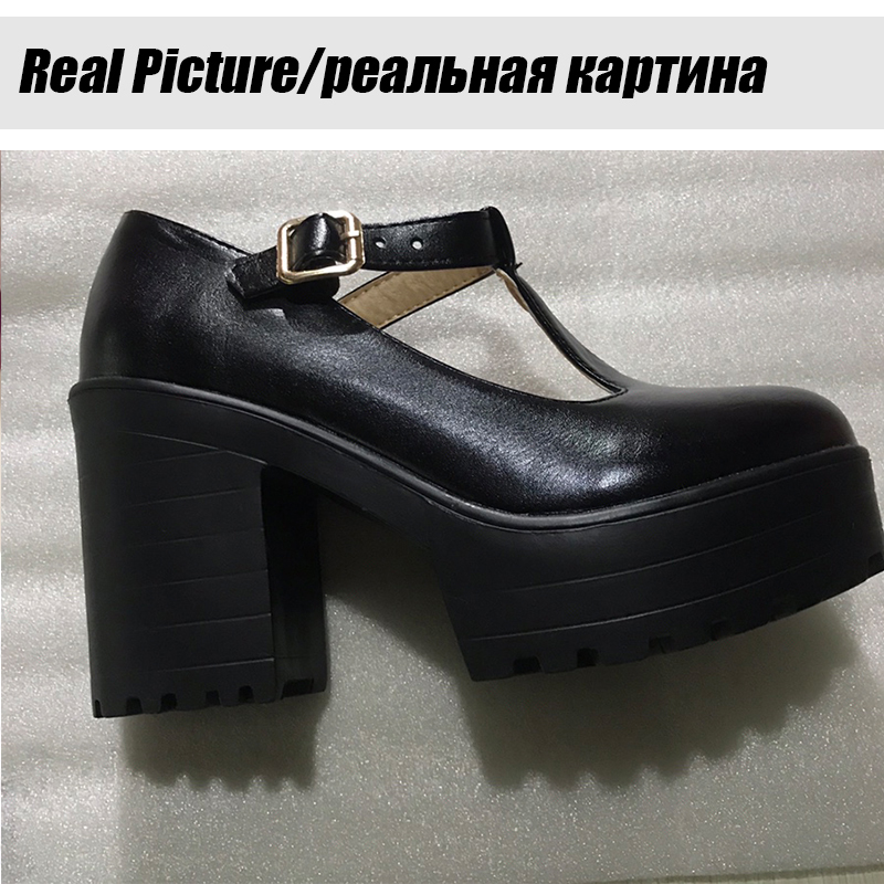 BONJOMARISA New T-Strap Buckle Strap Solid Mary Janes Platform Women Shoes Woman Casual Spring Autumn Pumps Large Size 34-46