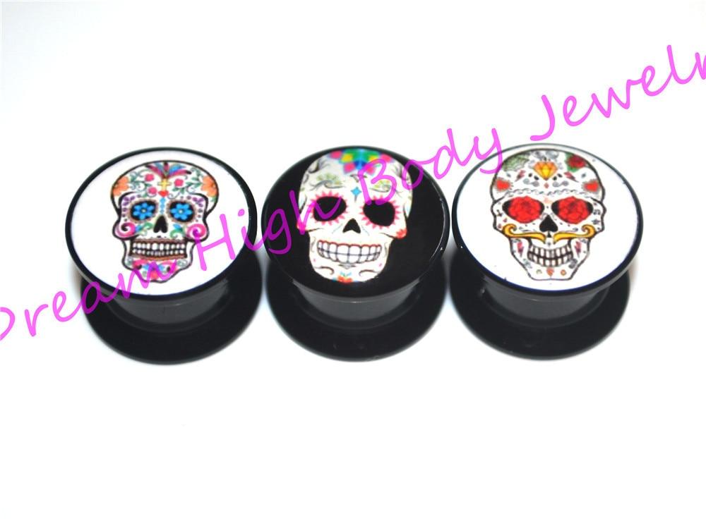Sugar Skull Plugs Acrylic Ear Gauge Ear Plugs Flesh -2635