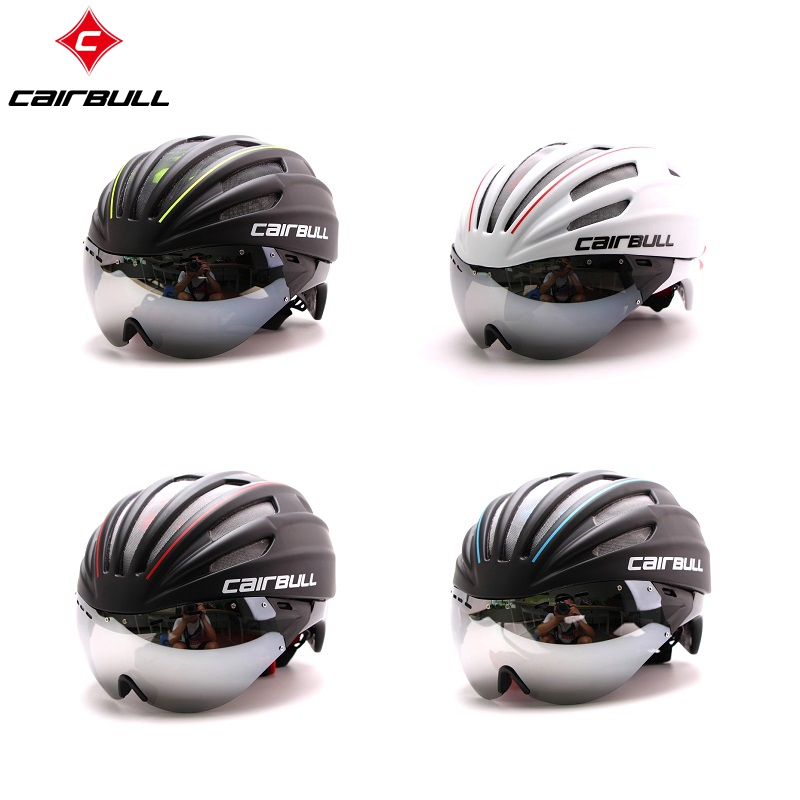 Cairbull Road Bike Helmet Aero Fietshelm Racefiets Goggles Bicycle Cycling Ultralight Integrally-molded MTB TT Magnetic UV Visor topeak outdoor sports cycling photochromic sun glasses bicycle sunglasses mtb nxt lenses glasses eyewear goggles 3 colors