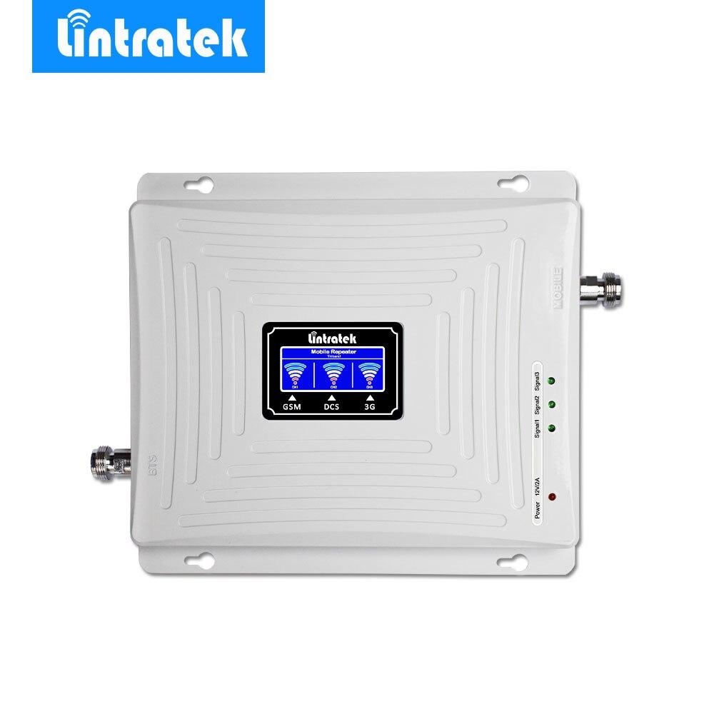 Lintratek LCD Tri Bande Signal Booster 2g 3g GSM 900 mhz UMTS 2100 mhz 4g LTE 1800 mhz Téléphone Portable Mobile Signal Amplificateur Répéteur *