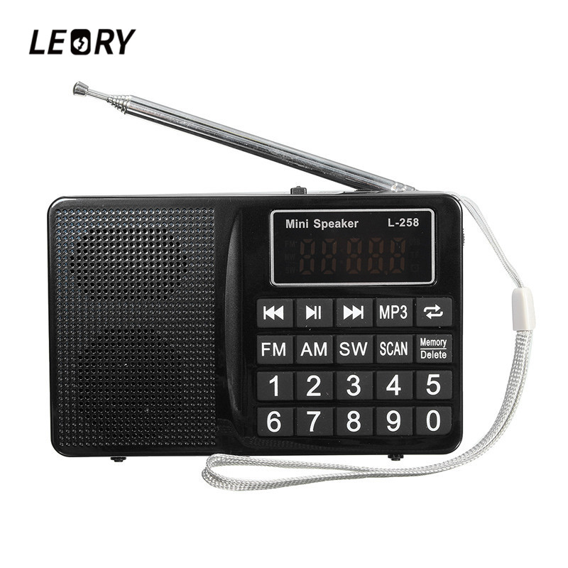 LEORY L-258 TF FM/AM/SW Multiband Radio Speaker 220V 800mah MP3 Radio Receiver AUX USB Auto Search Radio Player
