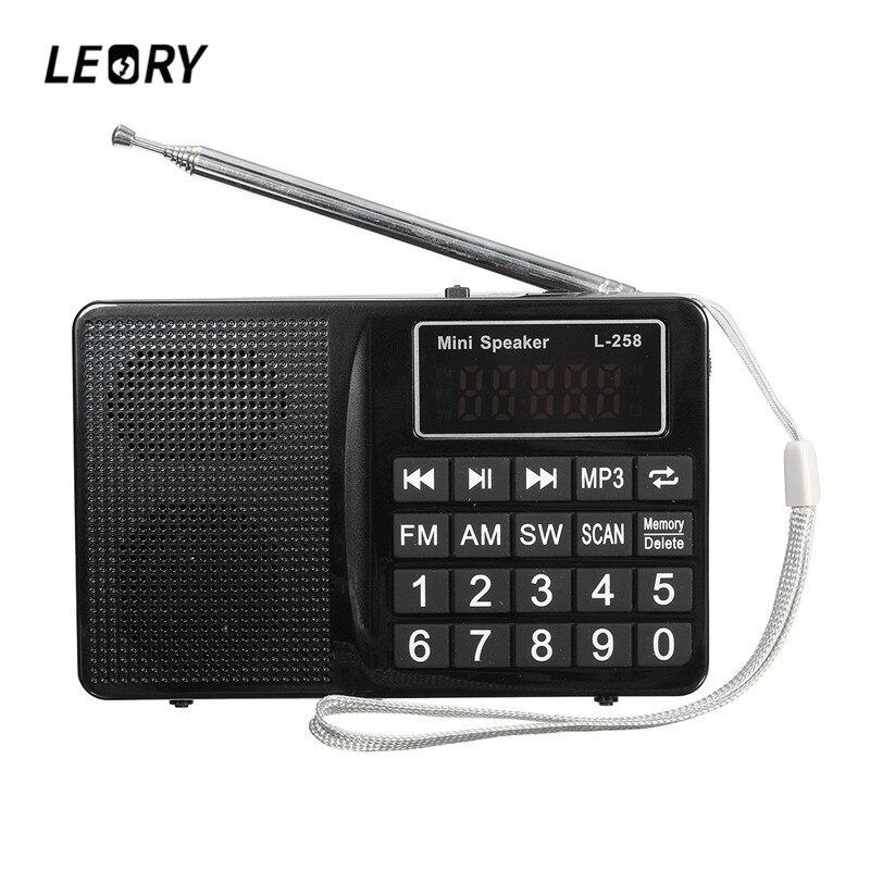 LEORY L-258 TF FM/AM/SW Multibanda Radio Speaker 220 V 800 mah MP3 Radio Receiver AUX USB Ricerca automatica della Radio Player