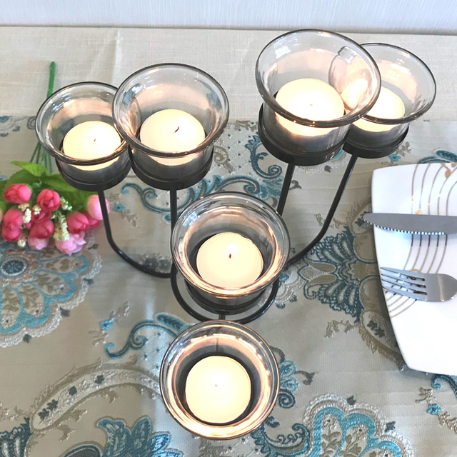 Candle Holder Table Metal Candlestick Geometric Retro Candle Holders Romantic for Wedding/Dinner Decoration Candelabra GZT086 6