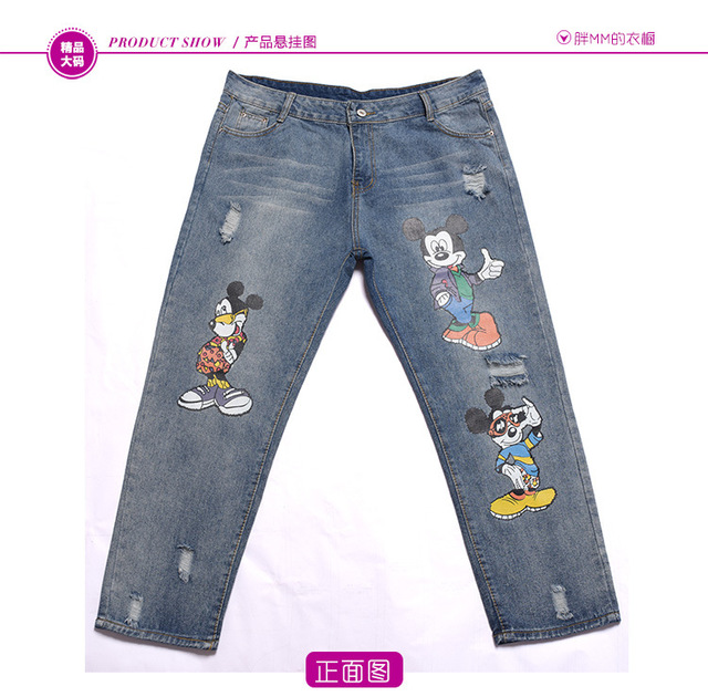 ENJOY PLUS 10%OFF hip107-122cm XL – 4XL new blue long women jeans pants 2016 plus size denim trousers cartoon emboridery lady