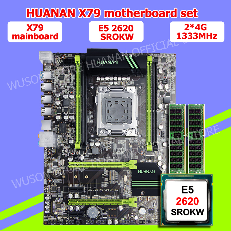 HUANAN V2.49 X79 motherboard CPU RAM combos Xeon E5 2620 SROKW CPU (2*4G)8G DDR3 RECC memorry all good tested 2 years warranty