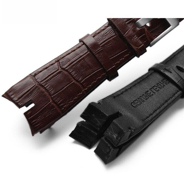Nuevo diseño 26mm alta calidad correa de reloj de cuero genuino especial para Roger Dubuis excalibubur series pulsera dial RDDBEX0405