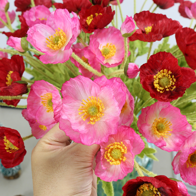 4 Heads High Quality Realistic Artificial Flowers Poppy Poppies Silk