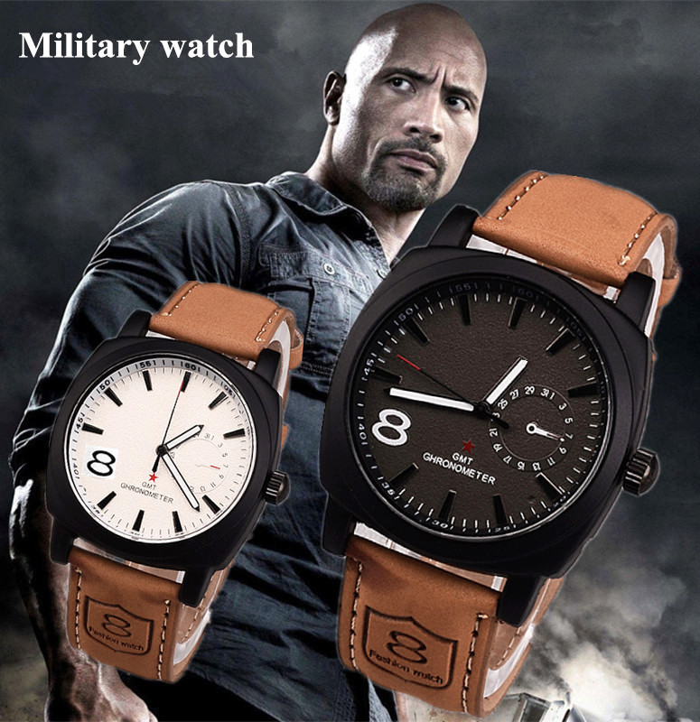 Men Leather Strap Watch Sports Military Fashion Wristwatch Casual Analog Relogioes Round Dial Wholesale Clock saat reloj hombre men leather strap watch sports military quartz fashion wristwatch casual analog relogioes round dial wholesale top quality clock