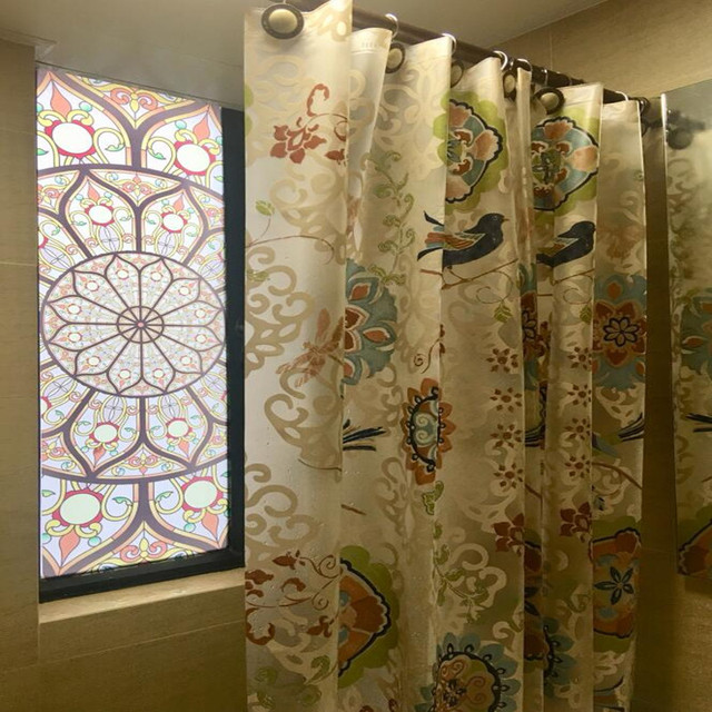 EVA Transparent Shower Curtain Leaves Waterproof Thickening Mildew Bathroom Shower  Curtain Cloth Transparent Batik Flower Bird