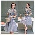 2 Duas Peças Set Mulheres Coréia Do Sexo Feminino Borboleta Blusa Impressão Tops e Tule Saia Conjuntos Casuais Roupas 2016 Ternos Magros das Mulheres 88010