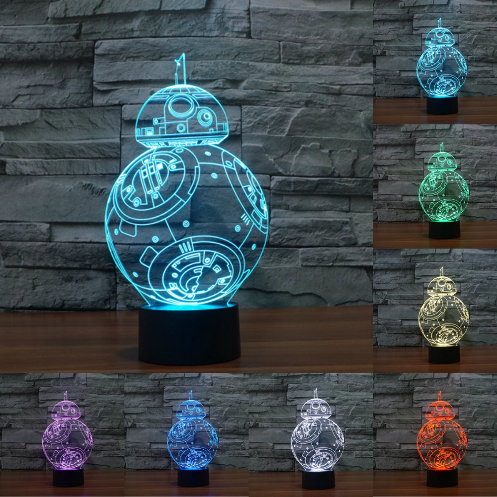 7 Colors change 3D Visual Nightlight Creative Star Wars LED Lamp for Kids Touch Switch Acrylic