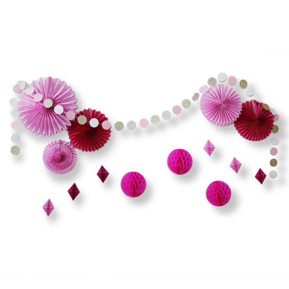 Set of 15 Fuchsia Pink Paper Decorations Paper Fan...