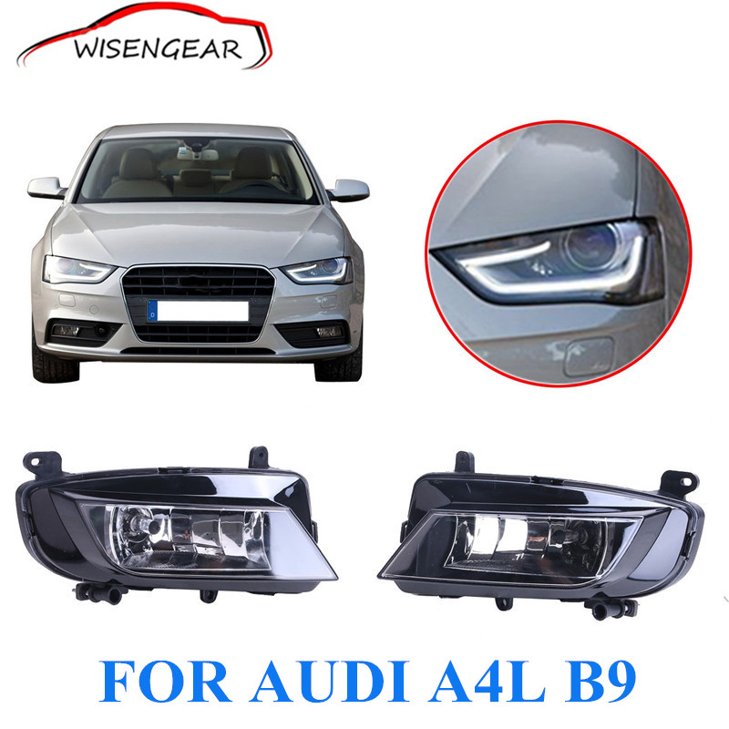 1 Pair Car Fog light For Audi A4 B9 2.0L Facelift Sedan H8 Halogen Clear Fog Driving Reflector Light car styling C/5 pair car 55w h11 front bumper driving fog light lamp for audi a4 b6 sedan 02 05 03 04