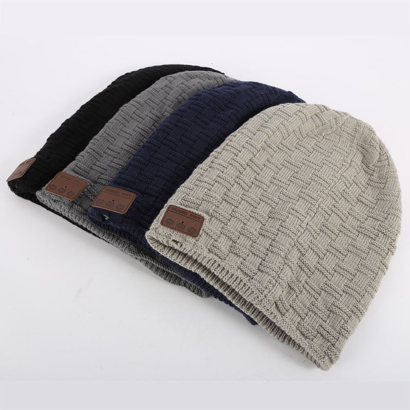Winter Warm Wool Soft Beanie Hat Wireless Bluetooth Smart Cap Headset Headphone Speaker Mic Bluetooth Hat knit ski beanie fashion winter women men beanie ball wool cuff hat ski cap 2017 warm winter hat new style casual soft