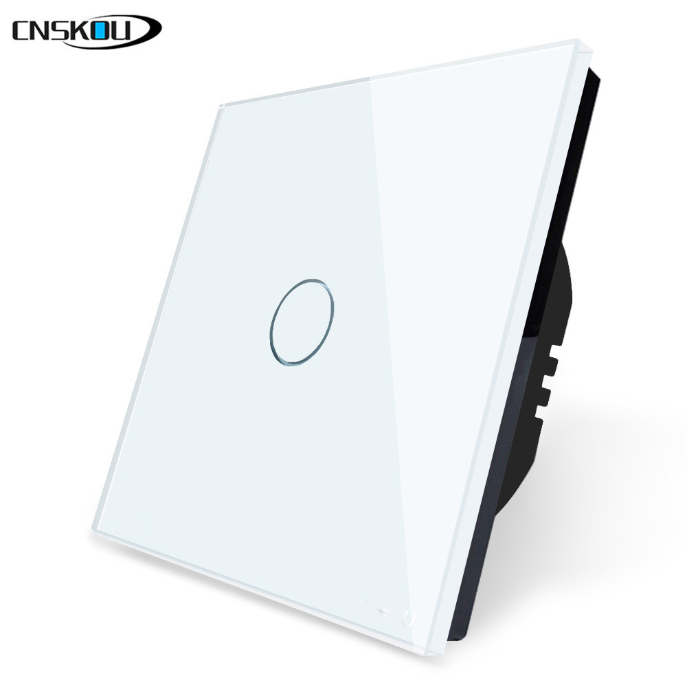 EU Stanard Touch Switch White Crystal Glass Panel 1 Gang 1 Way Touch Switch, EU Light Wall Touch Screen Switch,AC 110-220VEU Stanard Touch Switch White Crystal Glass Panel 1 Gang 1 Way Touch Switch, EU Light Wall Touch Screen Switch,AC 110-220V