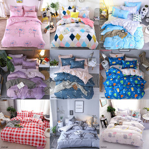 Image 3 - Bedding Sets Geometric Pattern Bed Sheet Children Student Dormitory Bed Linings Cartoon  3/4pcs Pillowcases Cover Set