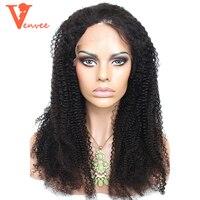 Afro Kinky Kręcone Pełna Koronka Ludzkich Włosów Peruki Koronki Przodu Ludzkiego Włosa Venvee włosów Peruki Dla Czarnych Kobiet Brazylijski Dziewiczych Ludzkich Włosów 130%