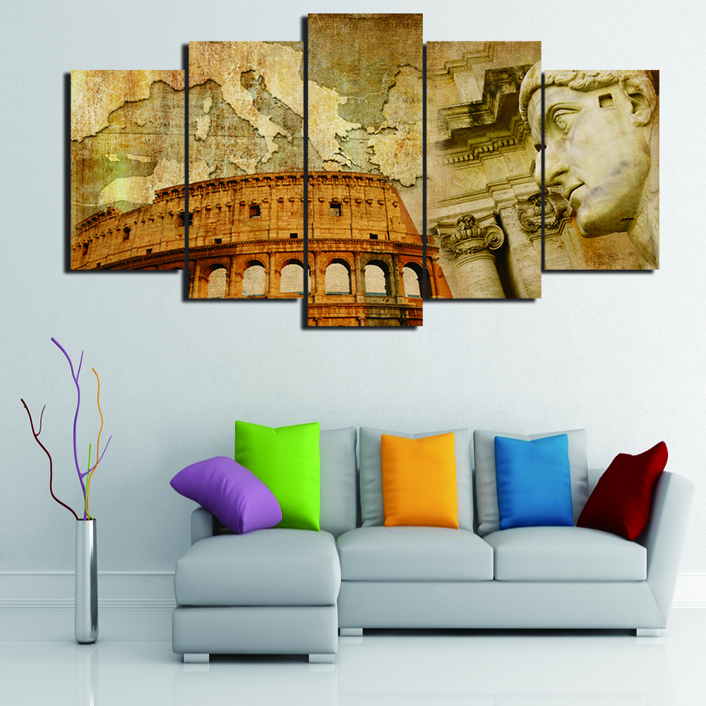 Living room oil paintings - 5 Panels Italian Colosseum Map Abstract Oil Painting Printed Print Hd Canvas Painting Modern Wall Art Living Room Home Decor