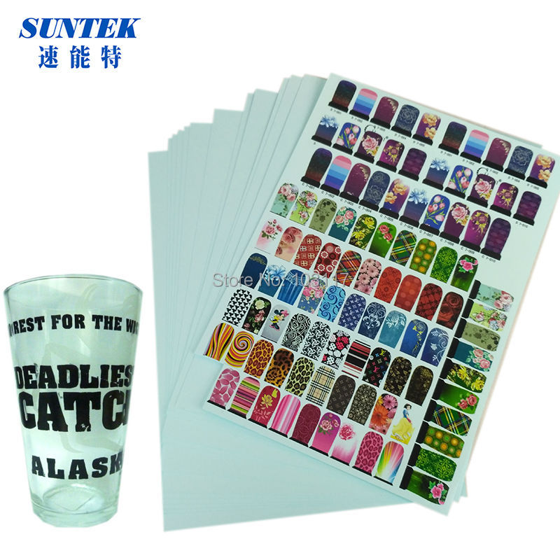 (50pcs/lot)   Laser  Blue Backing Water Transfer Printing Decal Paper A4 Waterslide Decal Paper  for Glass, Ceramic, Candles-in Painting Paper from Office & School Supplies    1