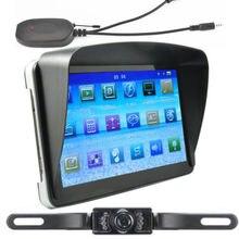 Универсальный 7-дюймовый автомобильный gps навигации Bluetooth AV-IN стерео система со спутниковой навигацией+ Беспроводной зеркало заднего вида Камера