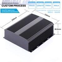 234 80 6 250mm WxH D Anodized Black Heatsink Aluminum Enclosure Case