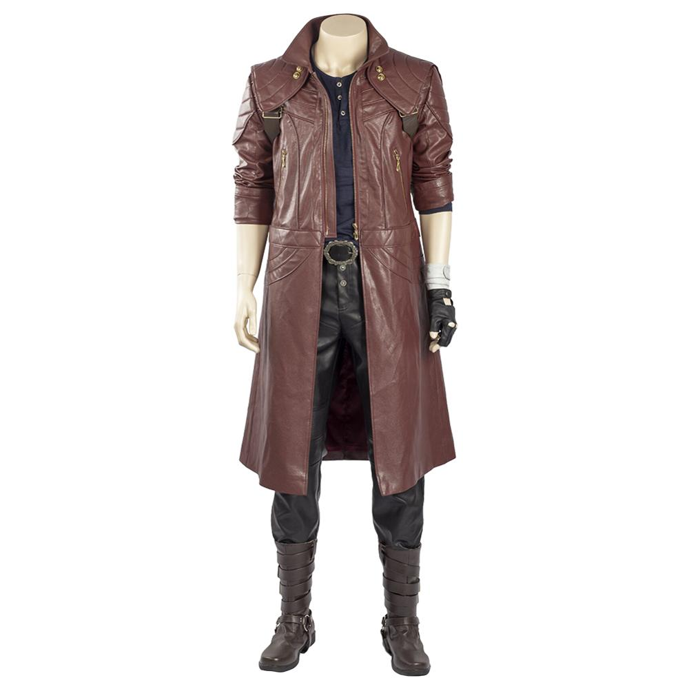 Devil May Cry V DMC5 Dante Aged Outfit Costume Cosplay Coat Boots Full Set