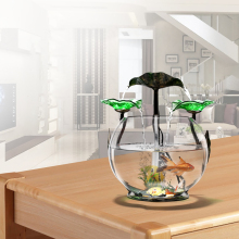 Small Fish Tank Mini Cylinder Desk Living Room Decoration Creative Round Ecological Glass Lazy Aquarium