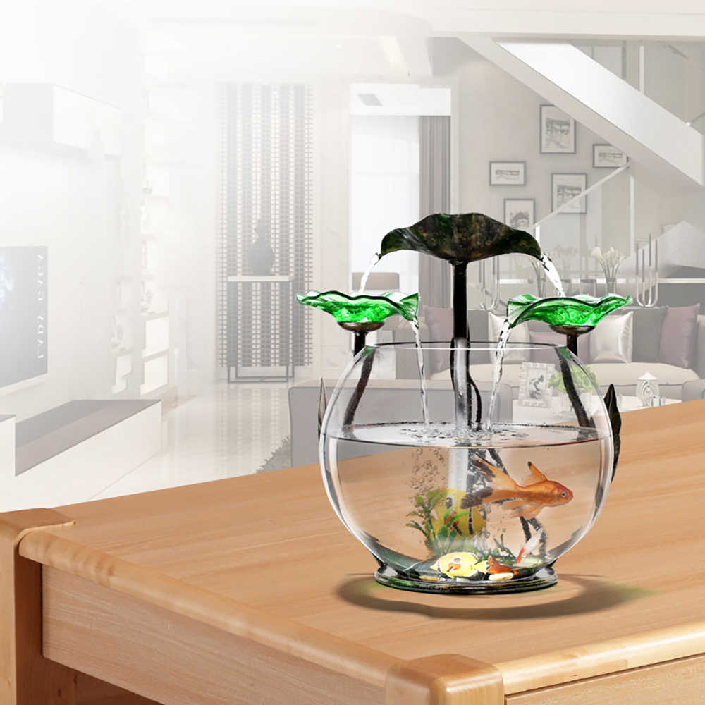 Small Fish Tank Mini Cylinder Desk Living Room Small ...