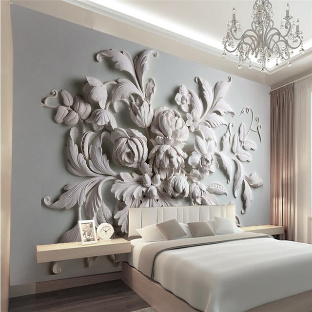 3d photo wallpaper stereoscopic relief european backdrop for What kind of paint to use on kitchen cabinets for large leaf wall art