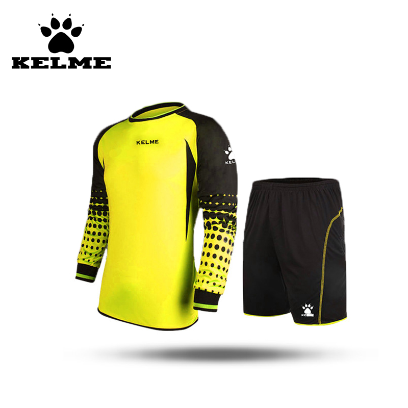 KELME Kids Soccer Spain Goalkeeper Jersey Uniform Boys Sponge Football Long Sleeve Goal Keeper Sets Shorts Goalie Jersey Kit 28 цена