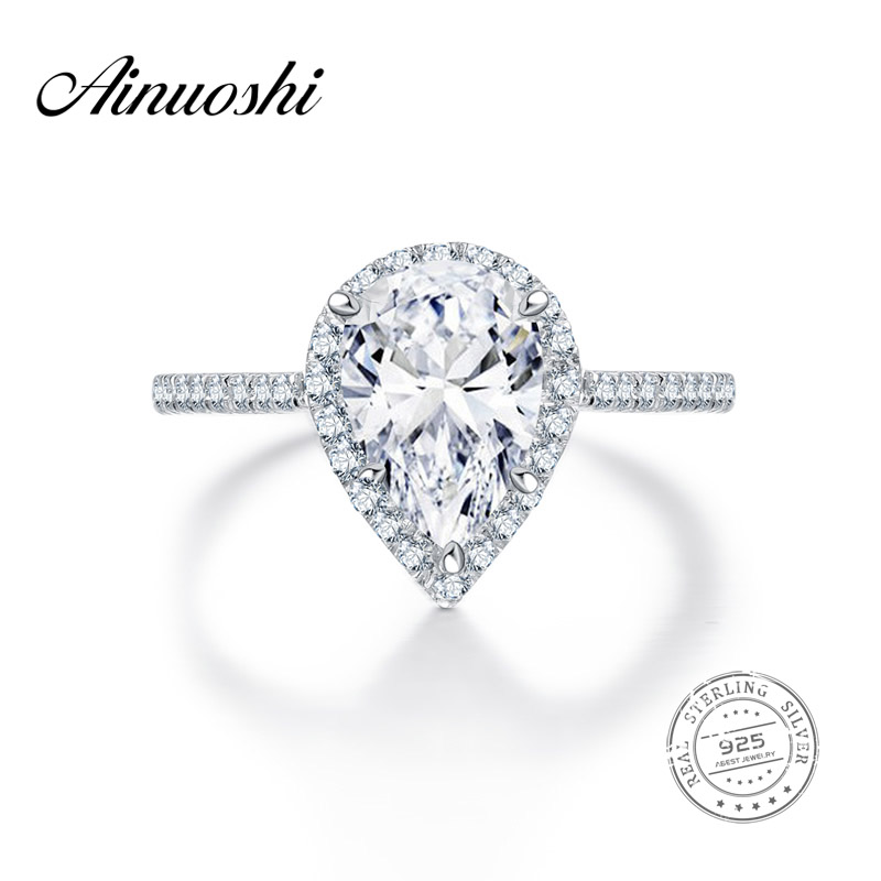 AINUOSHI 2 Carat Classic Pear Cut Engagement Ring 925 Sterling Silver Aneis Feminino Jewelry Wedding Pave