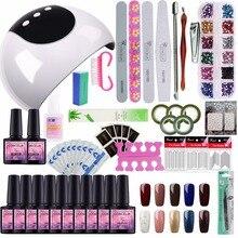 24W UV LED Nail Lamp Manicure Set 10 Color UV Gel Polish Nail Kits Manicure Pedicure Set with Extension Gel Nail Art Tools Kits