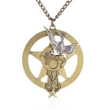 Silver Peace Doves On Big Gear Chain Pendant Steampunk Necklace Jewelry