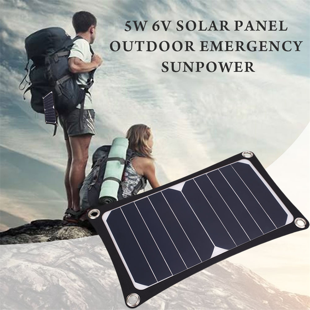 BCMaster 5W 6V USB Solar Panel External Battery Charger Portable Universal Power Bank Camping Outdoor