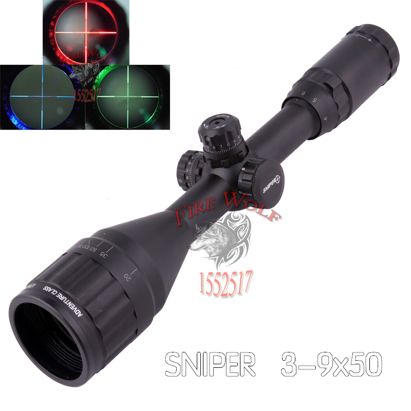 Hunting RifleScope Sniper 3-9X50 AOL 1 inch Full Size Tactical Optical Sight Illuminate Mil-Dot Locking Resetting Rifle Scope tactial qd release rifle scope 3 9x32 1maol mil dot hunting riflescope with sun shade tactical optical sight tube equipment
