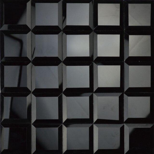 Glossy Black Color 5 Faced Diamond Mirror Glass Mosaic