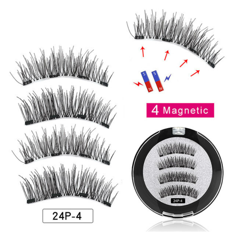 Magnetic Eyelashes With 4 Magnets Handmade 3D Magnetic Lashes Natural False Eyelashes Makeup Lashes Upper Lashes With Gift Box