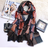 Plaid Scarf Pure Cashmere Scarves 300s Women Warm Winter Soft Fashion Brand Shawls Wraps 140*140cm