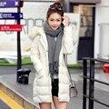 Mujeres parka engrosamiento 2016 mujeres del invierno wadded chaqueta de las mujeres prendas de vestir exteriores grande de la piel hacia abajo chaqueta de algodón rojo abrigos casual