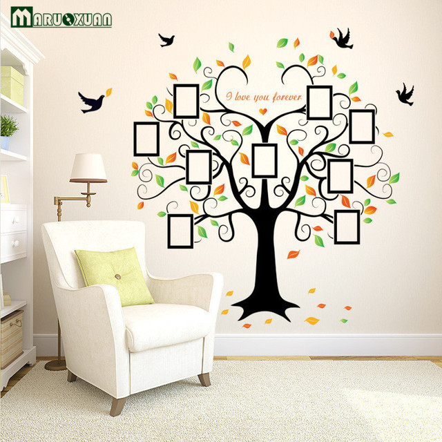 Yunxi Large Heart Shaped Photo Frame Big Tree Sticker Living Room