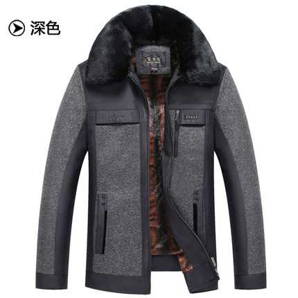 ФОТО M-XXXL Winter Coat Men 2016 New Design Middle Age Male Fur Collar Long Sleeve Thicken Parkas Father Warm Cotton Jacket A4231