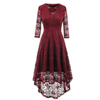 Womens Elegant Full Lace Embroidered High Quality Vintage 1920s Bridesmaid Party Irregular Standard Burgundy Long Dresses