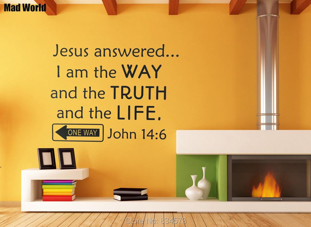 Mad World Bible Verse Scripture John 14:6 Quotes Wall Art Stickers ...