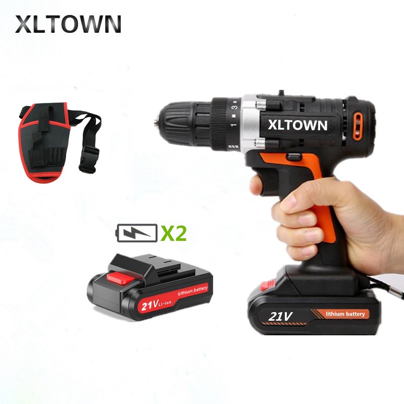 XLTOWN 21V Cordless Electric Screwdriver with 2 battery Rechargeable Lithium Battery Hand Drill Electric Drill Power Tools-in Electric Screwdrivers from Tools    1