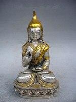 Tnukk 13 см */Китай Тибет Коллекция украшения с серебряным покрытием золото статуя Будды металла ручной работы.