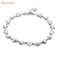 28d6aaff6a91 Newshe Romantic Cute Bracelet For Women 7 5 Inches Genuine 925 Sterling  Silver Star Heart Shape