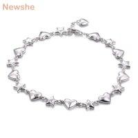 28d6aaff6a91 Newshe Romantic Cute Bracelet For Women 7 5 Inches Genuine 925 Sterling  Silver Star Heart Shape